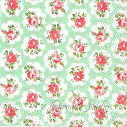 25cm 廃盤 キャス・キッドソン PROVENCE ROSE グリーン プロヴァンスローズ 薔薇1枚 バラ売り ペーパーナプキン デコパージュ Cath Kidston Ihr