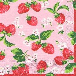 25cm 廃盤 キャス・キッドソン STRAWBERRIES ピンク ストロベリー 苺 いちご 1枚 バラ売り ペーパーナプキン デコパージュ Cath Kidston Ihr