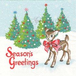 25cm 廃盤 キャス・キッドソン CHRISTMAS DEER クリスマス・バンビ 1枚 バラ売り ペーパーナプキン デコパージュ Cath Kidston Ihr