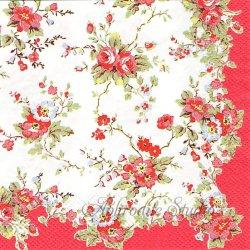25cm 廃盤 キャス・キッドソン BLEACHED SUMMER BLOSSOMS レッド お花 1枚 バラ売り ペーパーナプキン Cath Kidston Ihr