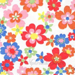 25cm 廃盤 キャス・キッドソン POP FLOWERS ホワイト お花 1枚 バラ売り ペーパーナプキン デコパージュ Cath Kidston Ihr