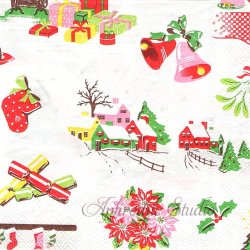 25cm 廃盤 キャス・キッドソン KIDSTON CHRISTMAS クリスマスアイテム 1枚 バラ売り ペーパーナプキン Cath Kidston Ihr