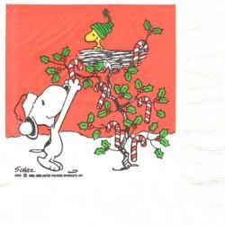 25cm 廃盤 貴重品 ヴィンテージ スヌーピー キャンディのツリー Peanuts キャラクター 1枚 バラ売り ペーパーナプキン 紙ナプキン デコパージュ SNOOPY
