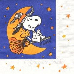 25cm 廃盤 貴重品 ヴィンテージ スヌーピー ハロウィン ほうきに乗ったスヌーピーとウッドストック Peanuts キャラクター 1枚 バラ売り ペーパーナプキン SNOOPY