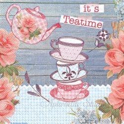 IT'S TEA TIME ティーカップと薔薇 1枚 バラ売り 33cm ペーパーナプキン デコパージュ 紙ナプキン Ambiente