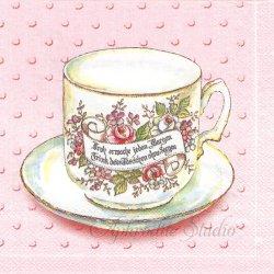 廃盤 FROH ERWACHE ピンク 花のアンティークティーカップ 1枚 バラ売り 33cm ペーパーナプキン デコパージュ 紙ナプキン Ihr