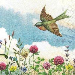 25cm CLOUD NINE ツメクサと春を運ぶ小鳥 1枚 バラ売り ペーパーナプキン デコパージュ用 MICHEL DESIGN WORKS