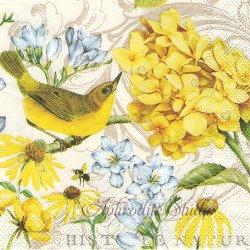 25cm TRANQUILITY 黄色い紫陽花、黄色い小鳥 1枚 バラ売り ペーパーナプキン デコパージュ用 MICHEL DESIGN WORKS