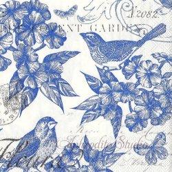 25cm INDIGO COTTON ブルー 花と小鳥 1枚 バラ売り ペーパーナプキン デコパージュ用 MICHEL DESIGN WORKS