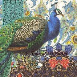 25cm PEACOCK 美しい羽の孔雀 クジャク 1枚 バラ売り ペーパーナプキン デコパージュ用 MICHEL DESIGN WORKS