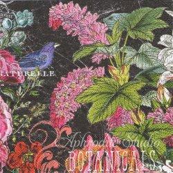 BOTANICAL GARDEN ブラック 花 1枚 バラ売り 33cm ペーパーナプキン デコパージュ MICHEL DESIGN WORKS