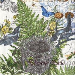 INTO THE WOODS 小鳥の巣 1枚 バラ売り 33cm ペーパーナプキン デコパージュ MICHEL DESIGN WORKS