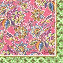PARTY GREEN FLORAL ピンク フローラル パターン模様 1枚 バラ売り 33cm ペーパーナプキン デコパージュ MICHEL DESIGN WORKS