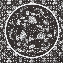 BOUQUET ブラック 花模様 円 1枚 バラ売り 33cm ペーパーナプキン デコパージュ MICHEL DESIGN WORKS