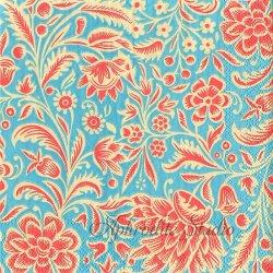 ORANGE CREAM ブルー オリエンタルな花模様 1枚 バラ売り 33cm ペーパーナプキン デコパージュ MICHEL DESIGN WORKS
