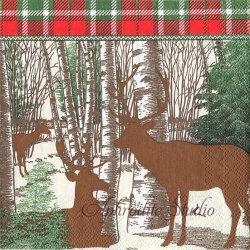 WINTER WOODS 森の鹿 1枚 バラ売り 33cm ペーパーナプキン デコパージュ MICHEL DESIGN WORKS