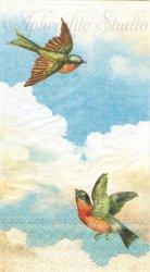 33x40cm CLOUD NINE 青空に春を運ぶ小鳥 1枚 バラ売り ペーパーナプキン デコパージュ MICHEL DESIGN WORKS