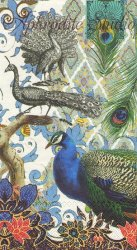 33x40cm PEACOCK 美しい羽の孔雀 クジャク 1枚 バラ売り ペーパーナプキン デコパージュ MICHEL DESIGN WORKS