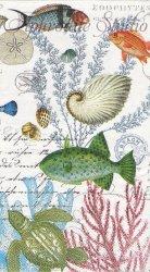 33x40cm SEALIFE 海の魚と貝、珊瑚 1枚 バラ売り ペーパーナプキン デコパージュ MICHEL DESIGN WORKS