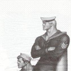 北欧 フィンレイソン COUPLES カップル Tom of Finland Ropes ペーパーナプキン 1枚 33cm デコパージュ バラ売り 北欧 Finlayson Suomen Kerta