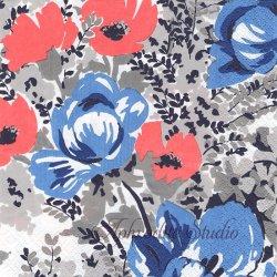 北欧 フィンレイソン AINI ブルー&ピンク お花 ペーパーナプキン 1枚 33cm デコパージュ バラ売り 北欧 Finlayson Suomen Kerta