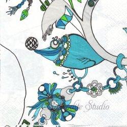 北欧 フィンレイソン SORMUS ブルーのアクセサリー Susanna Sivonen ペーパーナプキン 1枚 33cm デコパージュ バラ売り 北欧 Finlayson Suomen Kerta