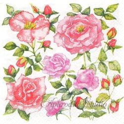 北欧 ハヴィ Paivi Maanavilija ピンクの薔薇 1枚 バラ売り 33cm ペーパーナプキン デコパージュ havi Suomen Kerta