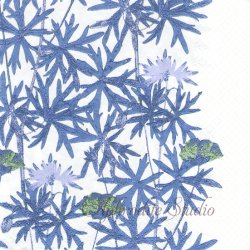 北欧 ハヴィxサムイ KESAPOLKU ブルー お花 Samuji 1枚 バラ売り 33cm ペーパーナプキン デコパージュ havi Suomen Kerta