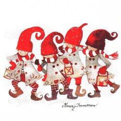 北欧 ハヴィ 4人のトムテニッセ クリスマス Minna Immonen 1枚 バラ売り 33cm ペーパーナプキン デコパージュ havi Suomen Kerta