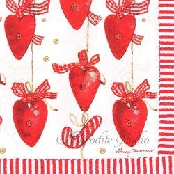 北欧 ハヴィ ハートのガーランド クリスマス Minna Immonen 1枚 バラ売り 33cm ペーパーナプキン デコパージュ havi Suomen Kerta