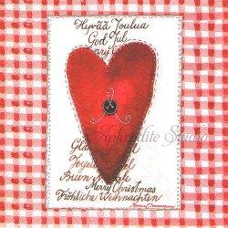 北欧 ハヴィ Joulusydan ハートの飾り物 ギンガムチェック クリスマス 1枚 バラ売り 33cm ペーパーナプキン デコパージュ havi Suomen Kerta