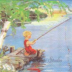 北欧 ハヴィ Ongella 釣りをする少女 Tarja Senne 1枚 33cm バラ売り ペーパーナプキン デコパージュ 紙ナプキン havi Suomen Kerta
