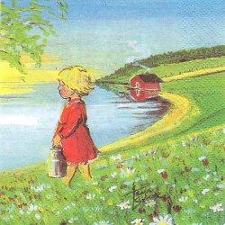 北欧 ハヴィ Maitotytto 水汲み Tarja Senne 1枚 33cm バラ売り ペーパーナプキン デコパージュ 紙ナプキン havi Suomen Kerta