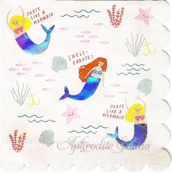 PARTY LIKE A MERMAID 人魚 ルミナス加工 1枚 33cm バラ売り ペーパーナプキン デコパージュ 紙ナプキン Meri Meri