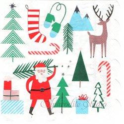 CHRISTMAS サンタクロース 銀ぱく加工 1枚 33cm バラ売り ペーパーナプキン デコパージュ 紙ナプキン Meri Meri