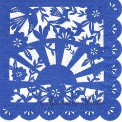 切り絵模様 ネイビーブルー 1枚 33cm バラ売り ペーパーナプキン デコパージュ 紙ナプキン Meri Meri