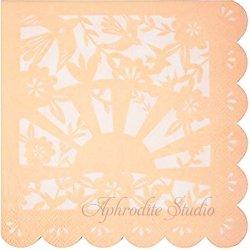 切り絵模様 ソフトオレンジ 1枚 33cm バラ売り ペーパーナプキン デコパージュ 紙ナプキン Meri Meri