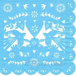 切り絵模様 ライトブルー 1枚 33cm バラ売り ペーパーナプキン デコパージュ 紙ナプキン Meri Meri