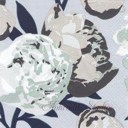 北欧 ペンティック PIONI ブルー ピオニー 芍薬 1枚 バラ売り 33cm ペーパーナプキン PENTIK