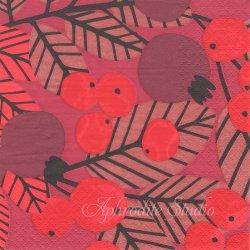 北欧 ペンティック RUUSUNMARJA レッド 紅い実と葉っぱ 1枚 バラ売り 33cm ペーパーナプキン PENTIK
