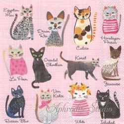 1パック20枚 未開封 25cm COOL CATS ピンク キャットカタログ 猫  Carolyn Gavin ペーパーナプキン デコパージュ Ihr