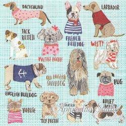 1パック20枚 未開封 25cm HOT DOGS ブルー ドッグカタログ 犬  Carolyn Gavin ペーパーナプキン デコパージュ Ihr
