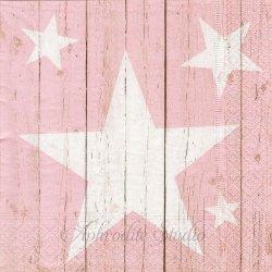 Stars on planks ピンク 星 白木シリーズ 1枚 バラ売り 33cm ペーパーナプキン デコパージュ用 Paper+Design