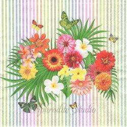 Tropical bouquet トロピカル・ブーケ お花 1枚 バラ売り 33cm ペーパーナプキン デコパージュ用 Paper+Design