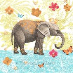 Elephant garden トロピカルな象 1枚 バラ売り 33cm ペーパーナプキン デコパージュ用 Paper+Design