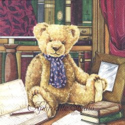 <img class='new_mark_img1' src='https://img.shop-pro.jp/img/new/icons55.gif' style='border:none;display:inline;margin:0px;padding:0px;width:auto;' />Teddy in Library テディベアのぬいぐるみ 1枚 バラ売り 33cm ペーパーナプキン Ambiente