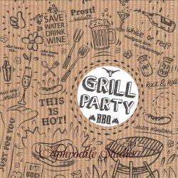Grill & Party バーベキュー 1枚 バラ売り 33cm ペーパーナプキン デコパージュ ppd