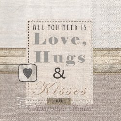 LOVE HUGS & KISSES リネン 文字 ハート 1枚 バラ売り 33cm ペーパーナプキン デコパージュ用 Ambiente