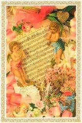ヴィクトリアン ポストカード 楽譜とエンジェルがとても可愛らしい エンジェル