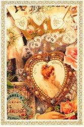 ヴィクトリアン ポストカード ハートのブローチに貴婦人 エンジェル